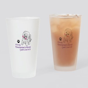 POMERANIANS WORLD Drinking Glass