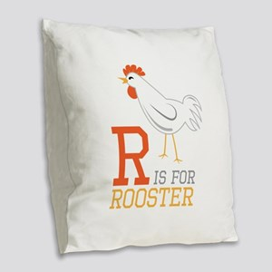 ris for roosted Burlap Throw Pillow