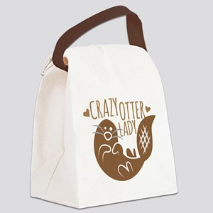 Crazy Otter Lady Canvas Lunch Bag