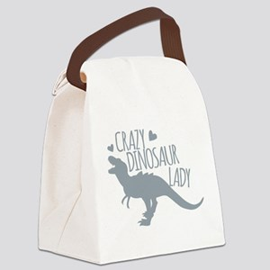 Crazy Dinosaur Lady Canvas Lunch Bag