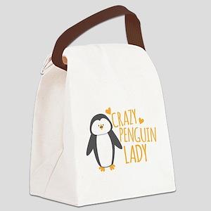 Crazy Penguin Lady Canvas Lunch Bag