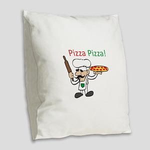 PIZZA PIZZA Burlap Throw Pillow