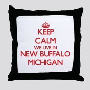 Keep calm we live in New Buffalo Mich Throw Pillow