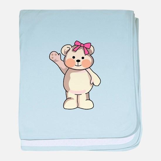 TEDDY BEAR WAVING baby blanket