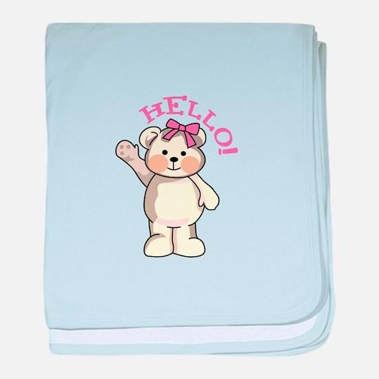 TEDDY BEAR HELLO baby blanket
