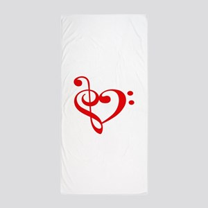 TREBLE MUSIC HEART Beach Towel
