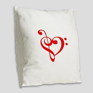 TREBLE MUSIC HEART Burlap Throw Pillow