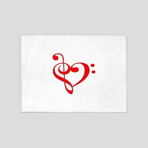 TREBLE MUSIC HEART 5'x7'Area Rug