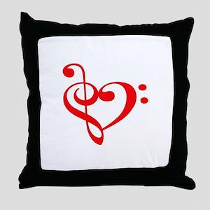 TREBLE MUSIC HEART Throw Pillow