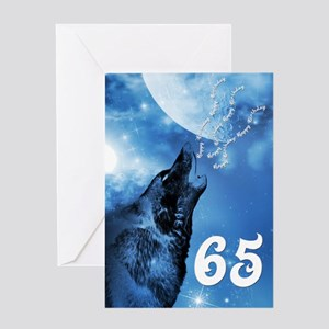 65th birthday, ghost wolf howling Greeting Cards