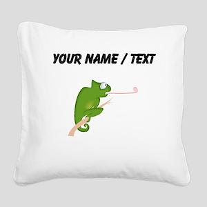 Custom Cartoon Chameleon Square Canvas Pillow