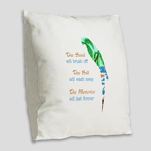 SAND SALT AND MEMORIES Burlap Throw Pillow
