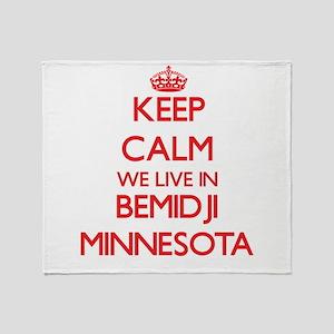 Keep calm we live in Bemidji Minneso Throw Blanket