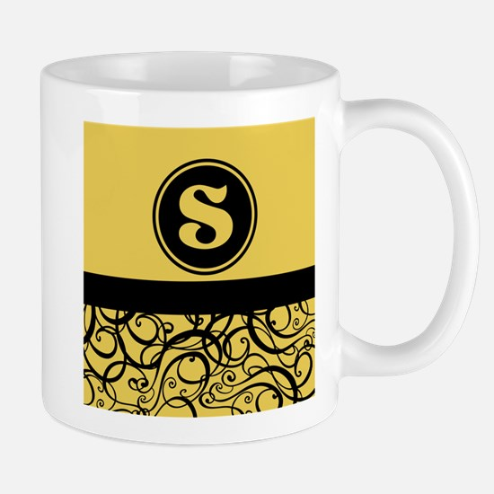 Gold Personalized Monogram Initial Mugs