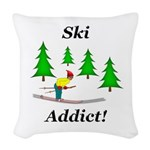 Ski Addict Woven Throw Pillow