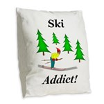 Ski Addict Burlap Throw Pillow