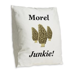 Morel Junkie Burlap Throw Pillow