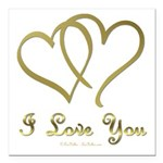 Entwined Gold Hearts Square Car Magnet 3