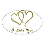 Entwined Gold Hearts Sticker