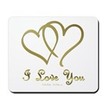 Entwined Gold Hearts Mousepad