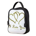Entwined Gold Hearts Neoprene Lunch Bag