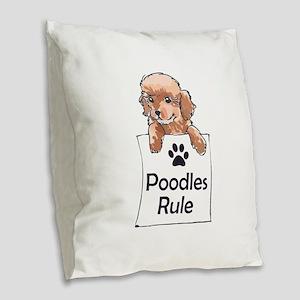 POODLES RULE Burlap Throw Pillow
