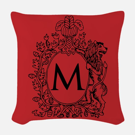 Letter M Red Monogram initial Woven Throw Pillow