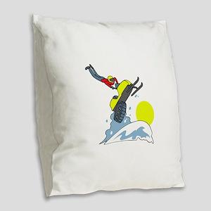 SNOWMOBILE JUMPER Burlap Throw Pillow