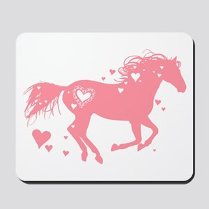 Pink Galloping Heart Horse Mousepad