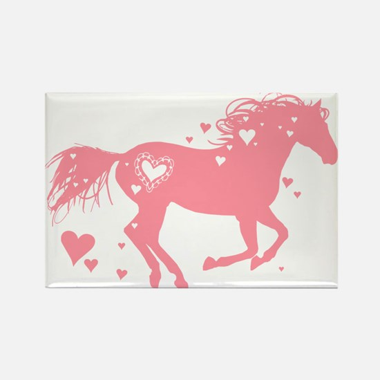 Pink Galloping Heart Horse Magnets
