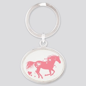 Pink Galloping Heart Horse Keychains