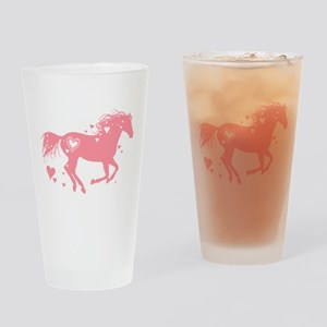 Pink Galloping Heart Horse Drinking Glass