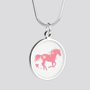 Pink Galloping Heart Horse Necklaces