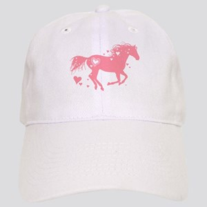 Pink Galloping Heart Horse Baseball Cap