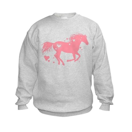 Pink Galloping Heart Horse Sweatshirt