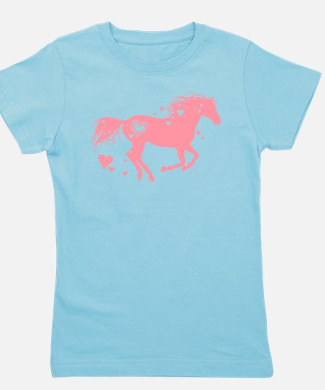 Pink Galloping Heart Horse Girl's Tee