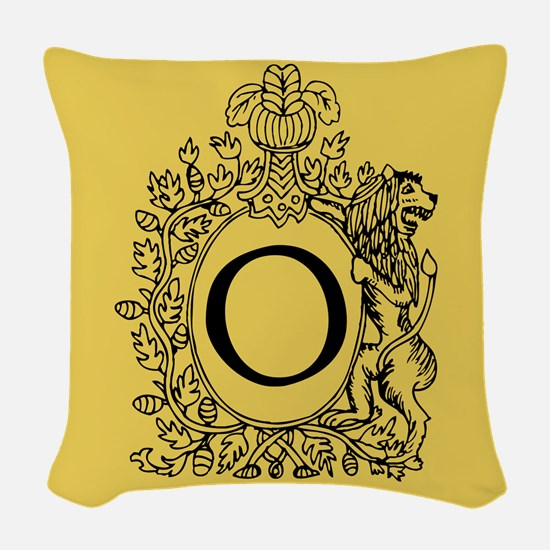 Letter O Gold Monogram initial Woven Throw Pillow