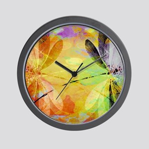 Colorful dragonfly reflection Wall Clock