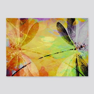 Colorful dragonfly reflection 5'x7'Area Rug