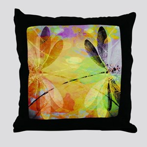 Colorful dragonfly reflection Throw Pillow