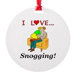 I Love Snogging Round Ornament
