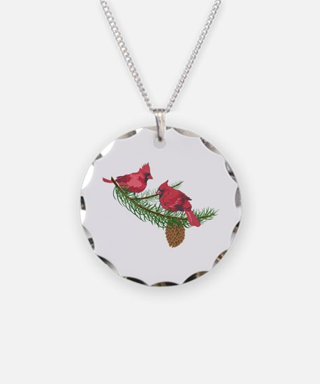 CARDINALS IN PINE TREE Necklace