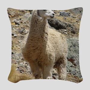 Llama Sentinal Woven Throw Pillow