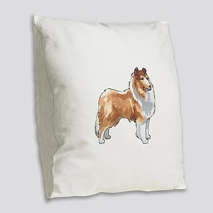 ROUGH COLLIE Burlap Throw Pillow