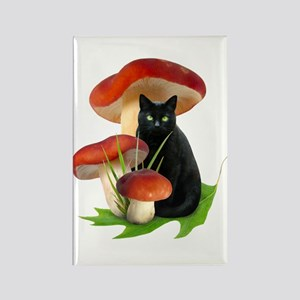 Black Cat Red Mushrooms Rectangle Magnet