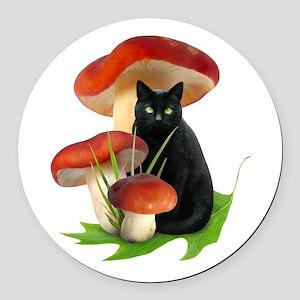 Black Cat Red Mushrooms Round Car Magnet