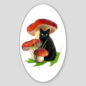 Black Cat Red Mushrooms Sticker (Oval)
