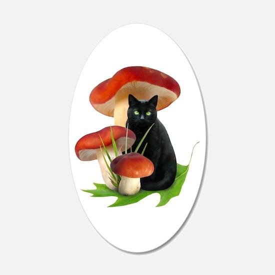 Black Cat Red Mushrooms Wall Decal