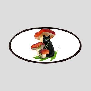Black Cat Red Mushrooms Patches