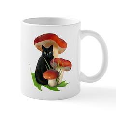 Black Cat Red Mushrooms Mug